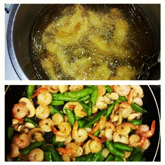 The not so healthy fish fry and for those of us eating healthy, a shrimp, snow pea, mushroom stir-fry